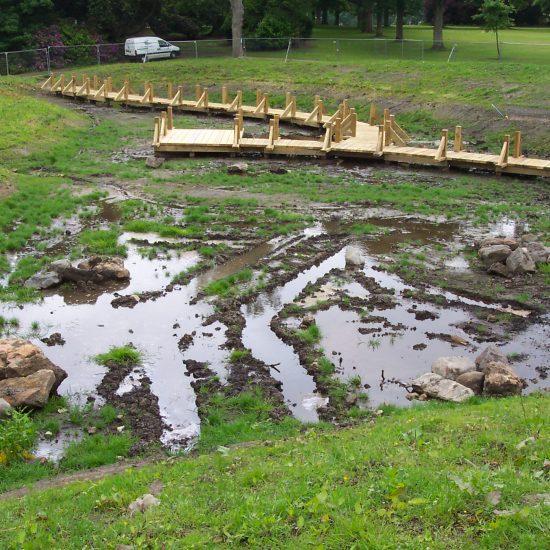 Wetland at Beveridge Park Fife under construction by Water Gems