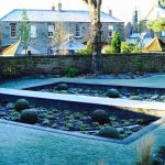 Sunken garden in winter, Edinburgh garden built by Water Gems, designed by Carolyn Grohmann