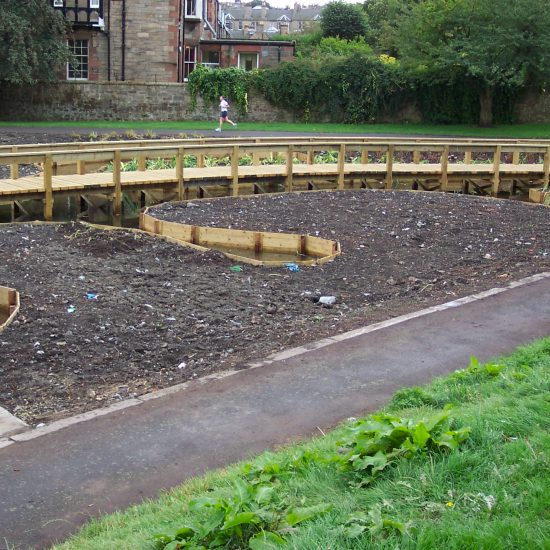 Inverleith Park Pond, Edinburgh, boardwalk under construction by Water Gems