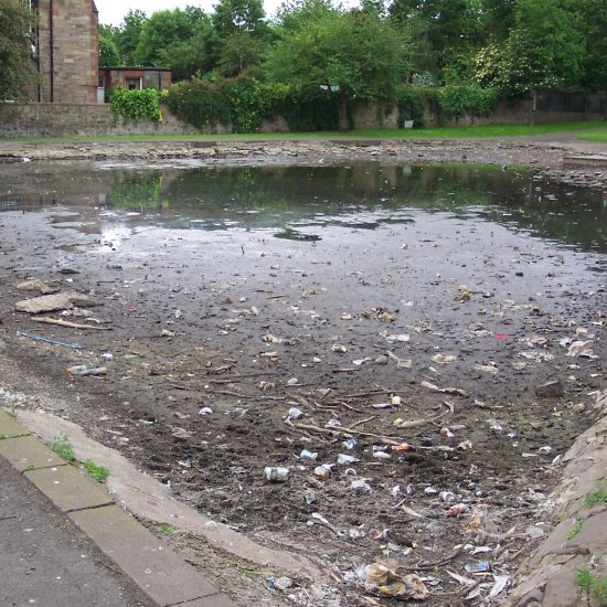 Inverleith Park Pond before work began with serious algal problems