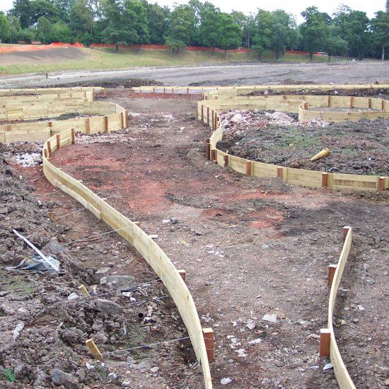 Inverleith Park Pond, Edinburgh, boardwalk under construction, Water Gems