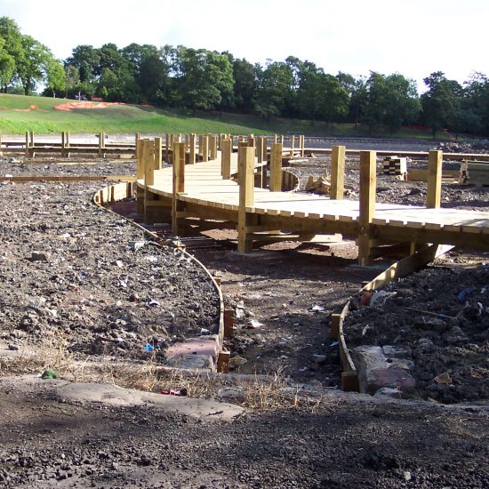 Inverleith Park Pond, Edinburgh, boardwalk under construction, Water Gems