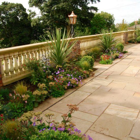 Dunfermline garden, formal terrace built by Water Gems, designed by Carolyn Grohmann