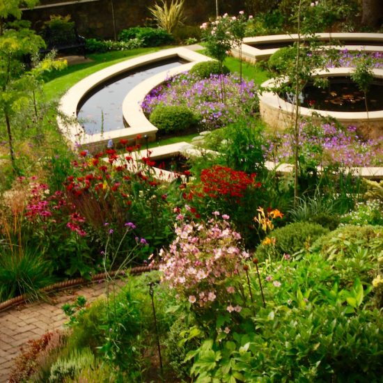 Dunfermline garden, formal water feature, built by Water Gems, designed by Carolyn Grohmann
