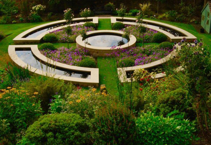 Dunfermline garden, formal water feature, built by Water Gems, designed by Carolyn Grohmann