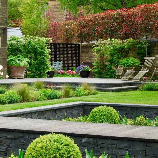 Sunken garden, rill, Edinburgh garden built by Water Gems, designed by Carolyn Grohmann