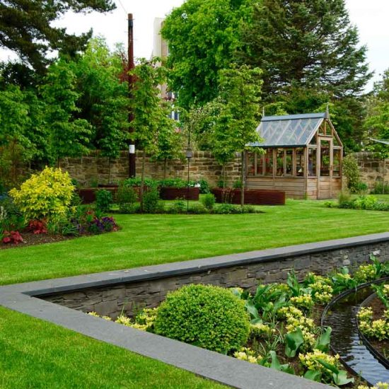 Sunken garden, rill, Gabriel Ash greenhouse Edinburgh garden built by Water Gems, designed by Carolyn Grohmann