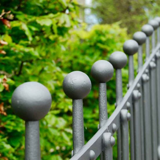 Railing by Ratho Byres Forge, Edinburgh garden built by Water Gems, designed by Carolyn Grohmann