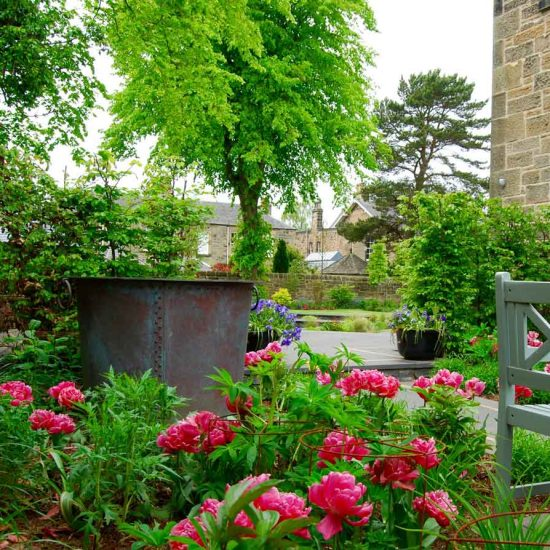 Edinburgh garden, copper tub by Ratho Byres forge, garden built by Water Gems, designed by Carolyn Grohmann