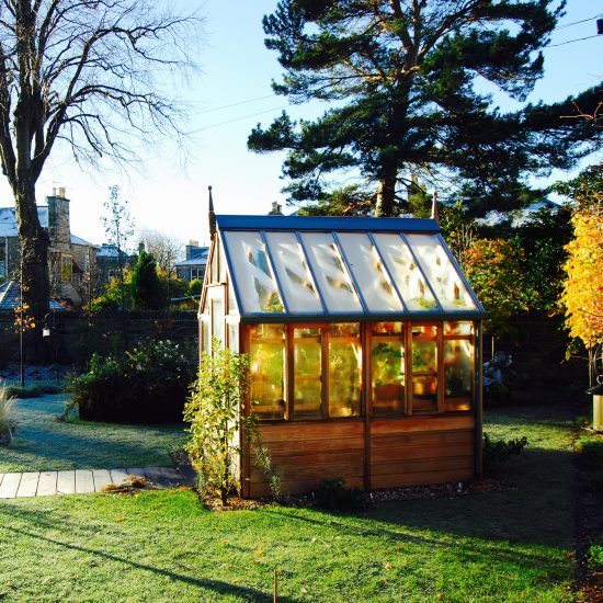 Gabriel Ash greenhouse in winter, in Edinburgh garden built by Water Gems, designed by Carolyn Grohmann