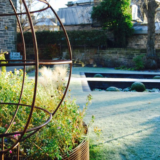 Leander plant support, in Edinburgh garden built by Water Gems, designed by Carolyn Grohmann