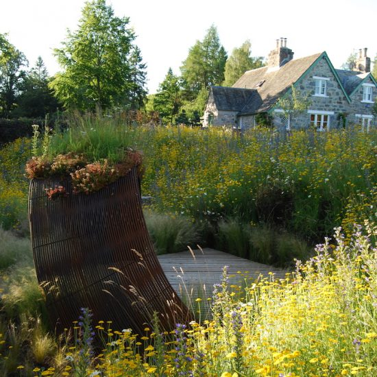 2010 Show Garden Gardening Scotland, rebar culture, rehoused in Aviemore garden, designed and built by Water Gems, planting by Carolyn Grohmann