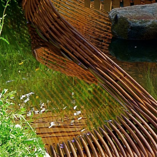 Rebar sculpture, larch deck, 2010 Gold medal, Gardening Scotland, Best in Show, designed and built by Water Gems, planting by Carolyn Grohmann