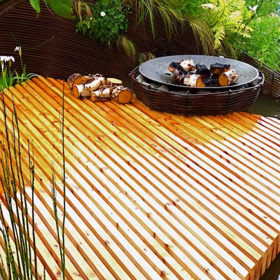 Rebar sculpture, larch deck, rebar fire pit, 2010 Gold medal, Gardening Scotland, Best in Show, designed and built by Water Gems, planting by Carolyn Grohmann