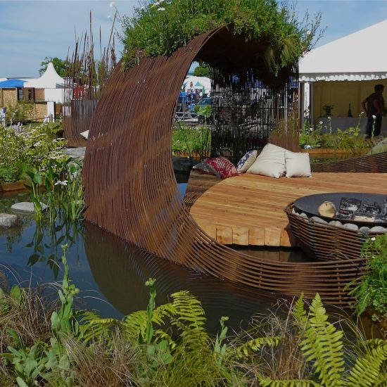 Rebar sculpture, 2010 Gold medal, Gardening Scotland, Best in Show, designed and built by Water Gems, planting by Carolyn Grohmann