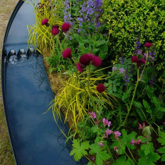 Painted metal rill in Gold Medal Award-Winning Garden, built by Water Gems, designed by Carolyn Grohmann at Gardening Scotland 2014