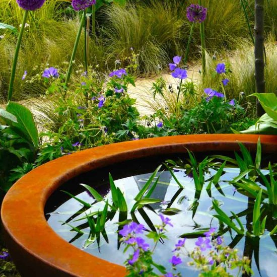 Urbis lily bowl in Gold Medal Award-Winning Garden, built by Water Gems, designed by Carolyn Grohmann at Gardening Scotland 2014