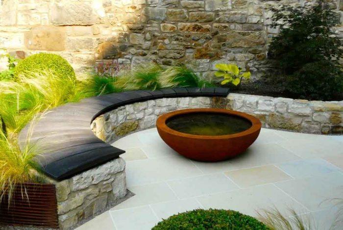 Scorched oak bench, Urbis lily bowl, Edinburgh Eton Terrace garden, built by Water Gems, designed by Carolyn Grohmann, BALI award winning 2014