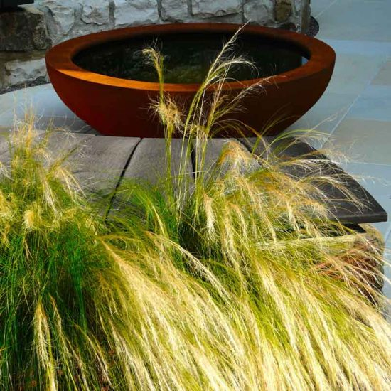 Urbis lily bowl, Edinburgh Eton Terrace garden, built by Water Gems, designed by Carolyn Grohmann, BALI award winning 2014