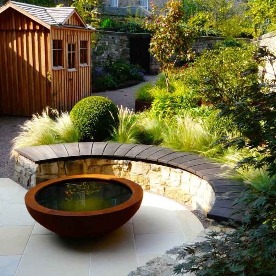 Rubies lily bowl, Edinburgh Eton Terrace garden, built by Water Gems, designed by Carolyn Grohmann, BALI award winning 2014