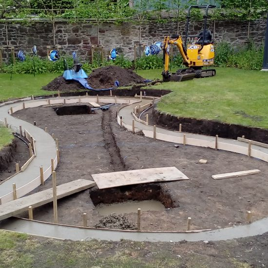 Shapely pond construction 5