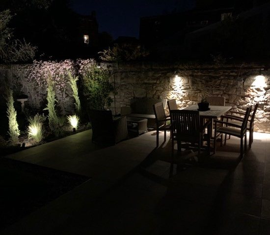 Photo taken by our client showing the lovely ambient lighting created in the garden in the evening
