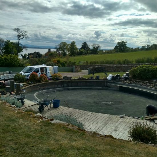 Preparing the pond for the new liner
